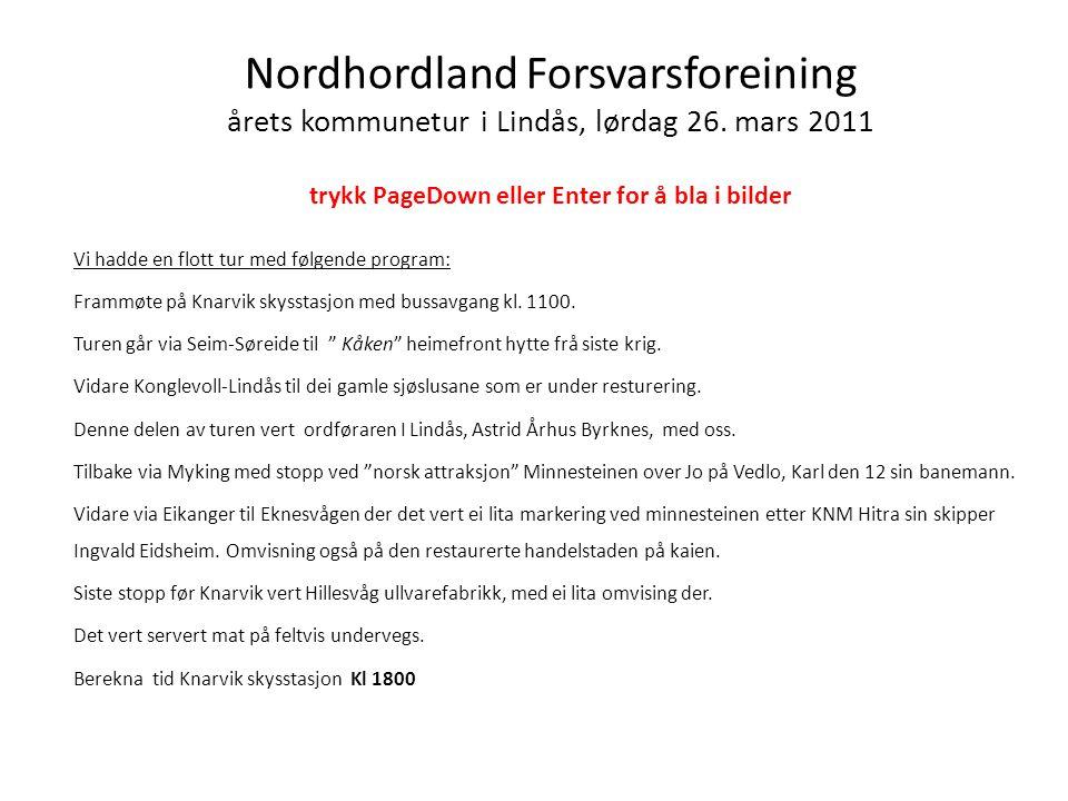Nordhordland Forsvarsforeining årets kommunetur i Lindås, lørdag 26.