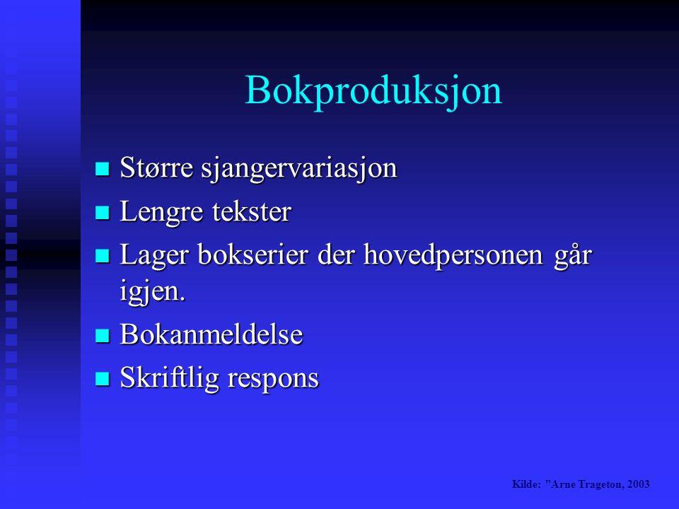 Lage elektroniske aviser  Engelskundervisning  Tegneserier  Bokproduksjon Bokproduksjon Kilde: Arne Trageton, 2003 Hva gjør man i 4.