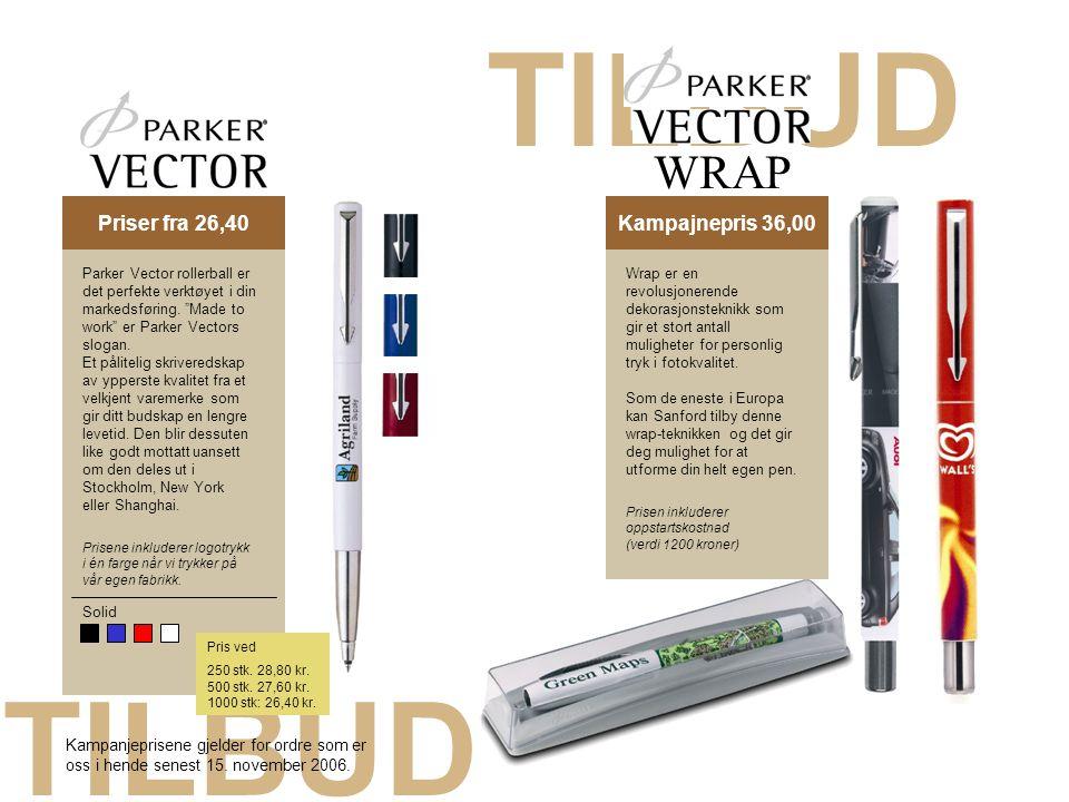 """TILBUD Priser fra 26,40Kampajnepris 36,00 Solid Parker Vector rollerball er det perfekte verktøyet i din markedsføring. """"Made to work"""" er Parker Vecto"""