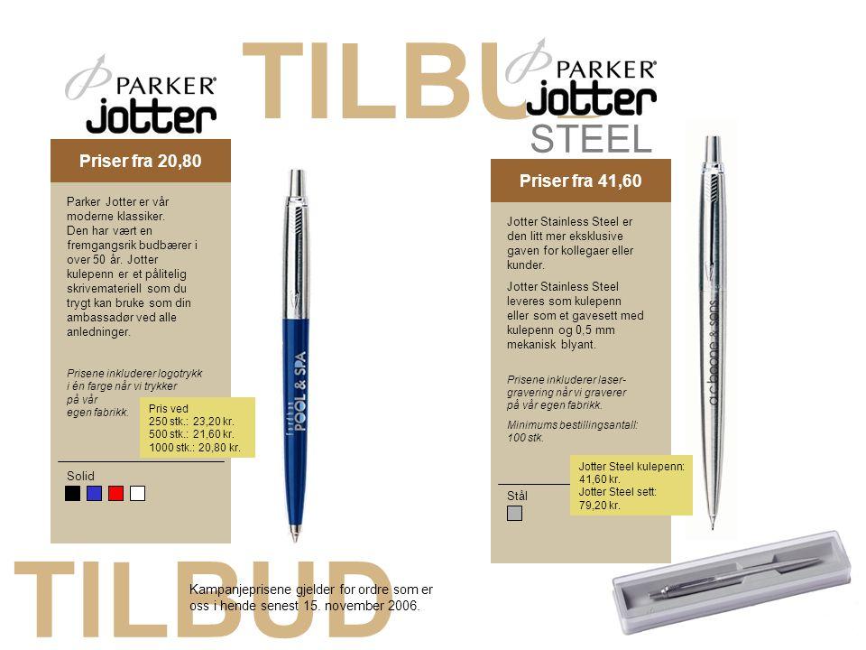 TILBUD Kampagnepris 18,40Priser fra 41,60 Solid Parker Jotter er vår moderne klassiker. Den har vært en fremgangsrik budbærer i over 50 år. Jotter kul