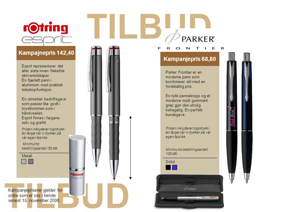 TILBUD Kampagnepris 18,40Kampanjepris 68,80 Metall Esprit representerer det aller siste innen fleksible skriveredskaper. En fjærlett penn i aluminium