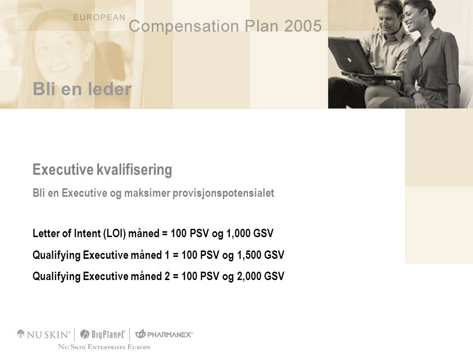 Bli en leder Executive kvalifisering Bli en Executive og maksimer provisjonspotensialet Letter of Intent (LOI) måned = 100 PSV og 1,000 GSV Qualifying