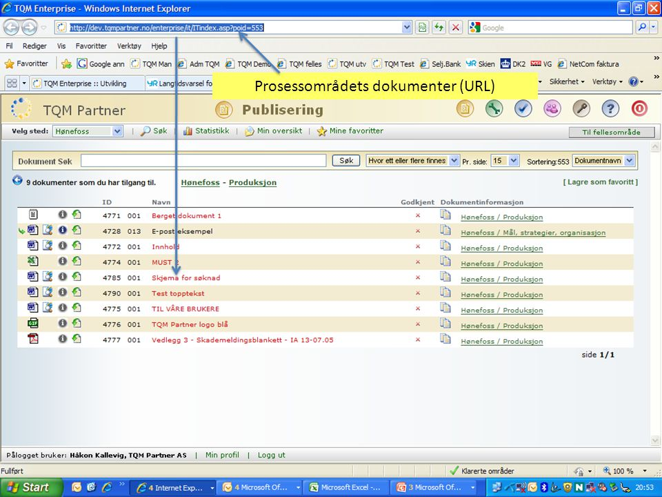 Prosessområdets dokumenter (URL)