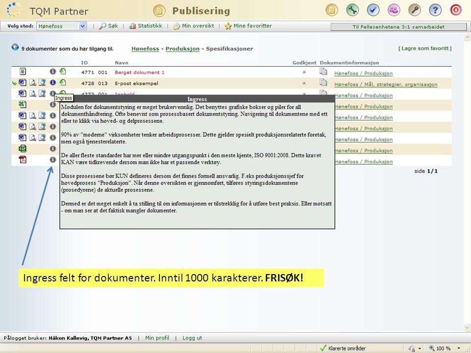 Fritekst søk på ingress i dokumenter (1000 kar felt)
