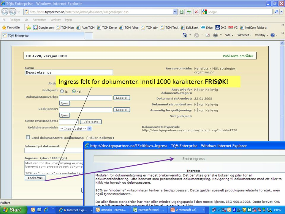 Dokumentasjon og sporing av slettede dokumenter