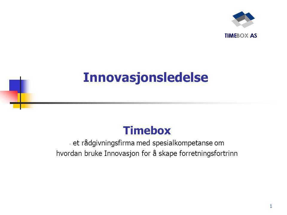 1 Innovasjonsledelse Timebox - et rådgivningsfirma med spesialkompetanse om hvordan bruke Innovasjon for å skape forretningsfortrinn
