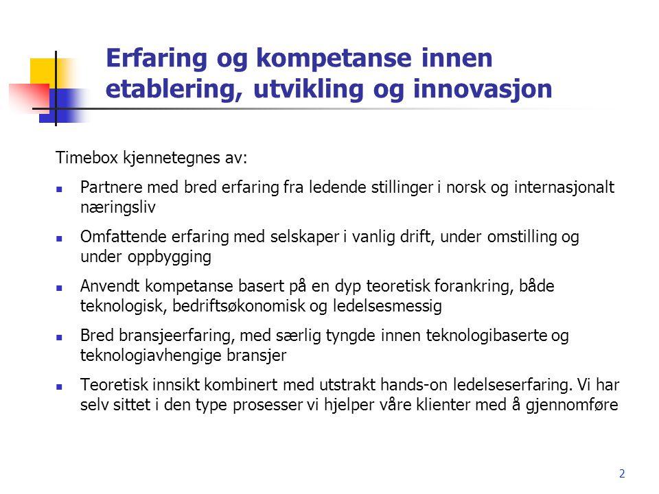2 Erfaring og kompetanse innen etablering, utvikling og innovasjon Timebox kjennetegnes av:  Partnere med bred erfaring fra ledende stillinger i nors