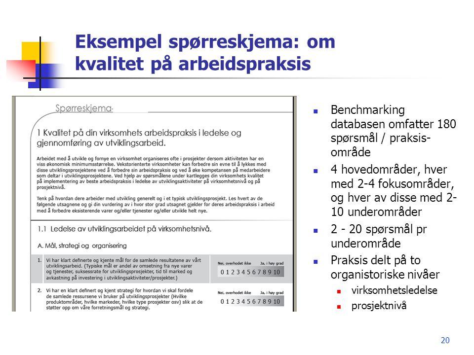20 Eksempel spørreskjema: om kvalitet på arbeidspraksis  Benchmarking databasen omfatter 180 spørsmål / praksis- område  4 hovedområder, hver med 2-
