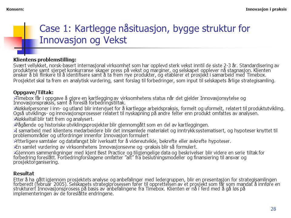 28 Case 1: Kartlegge nåsituasjon, bygge struktur for Innovasjon og Vekst Klientens problemstilling: Svært vellykket, norsk-basert internasjonal virkso
