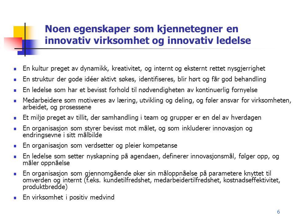 6 Noen egenskaper som kjennetegner en innovativ virksomhet og innovativ ledelse  En kultur preget av dynamikk, kreativitet, og internt og eksternt re