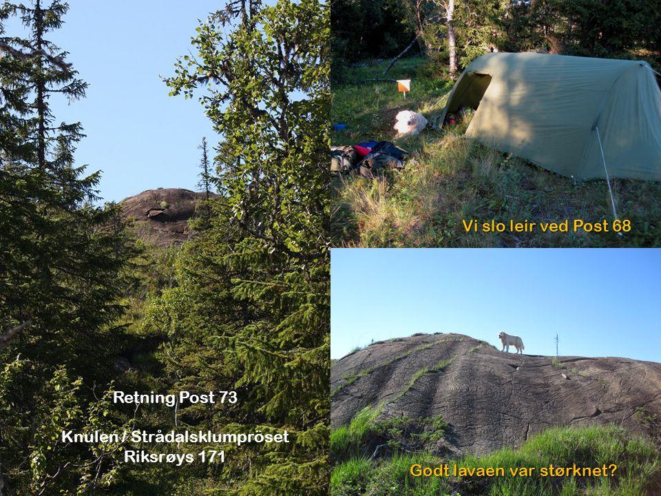 Retning Post 73 Knulen / Strådalsklumpröset Riksrøys 171 Vi slo leir ved Post 68 Godt lavaen var størknet?