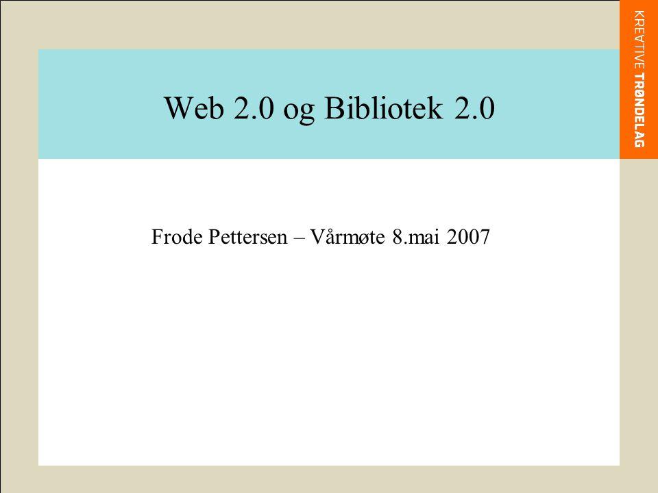 Hva er WEB 2.0 Web 2.0 er en betegnelse på den nye situasjonen på WWW med deltagerdrevne, interaktive nettjenester.