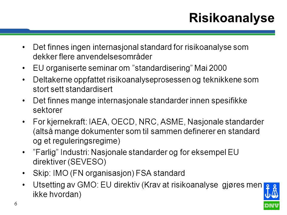 """6 Risikoanalyse •Det finnes ingen internasjonal standard for risikoanalyse som dekker flere anvendelsesområder •EU organiserte seminar om """"standardise"""