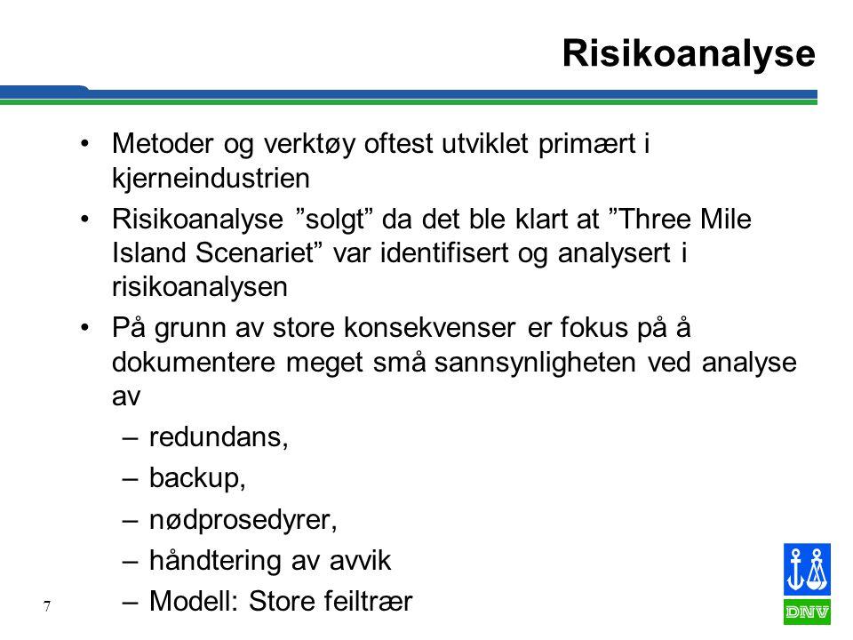 """7 Risikoanalyse •Metoder og verktøy oftest utviklet primært i kjerneindustrien •Risikoanalyse """"solgt"""" da det ble klart at """"Three Mile Island Scenariet"""