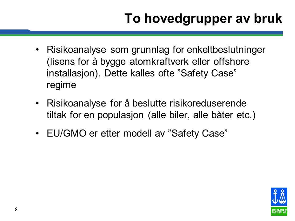 8 To hovedgrupper av bruk •Risikoanalyse som grunnlag for enkeltbeslutninger (lisens for å bygge atomkraftverk eller offshore installasjon). Dette kal