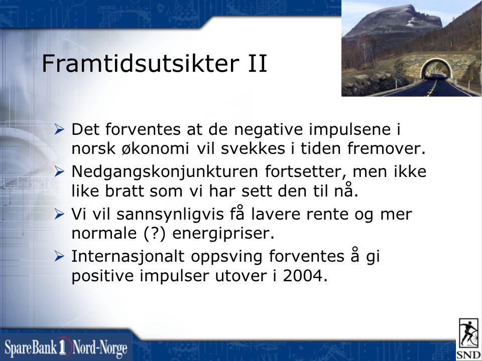 Framtidsutsikter II  Det forventes at de negative impulsene i norsk økonomi vil svekkes i tiden fremover.  Nedgangskonjunkturen fortsetter, men ikke