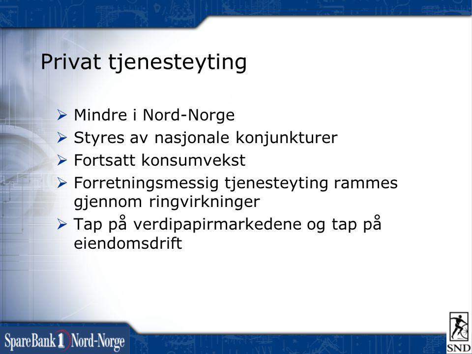 Privat tjenesteyting  Mindre i Nord-Norge  Styres av nasjonale konjunkturer  Fortsatt konsumvekst  Forretningsmessig tjenesteyting rammes gjennom ringvirkninger  Tap på verdipapirmarkedene og tap på eiendomsdrift