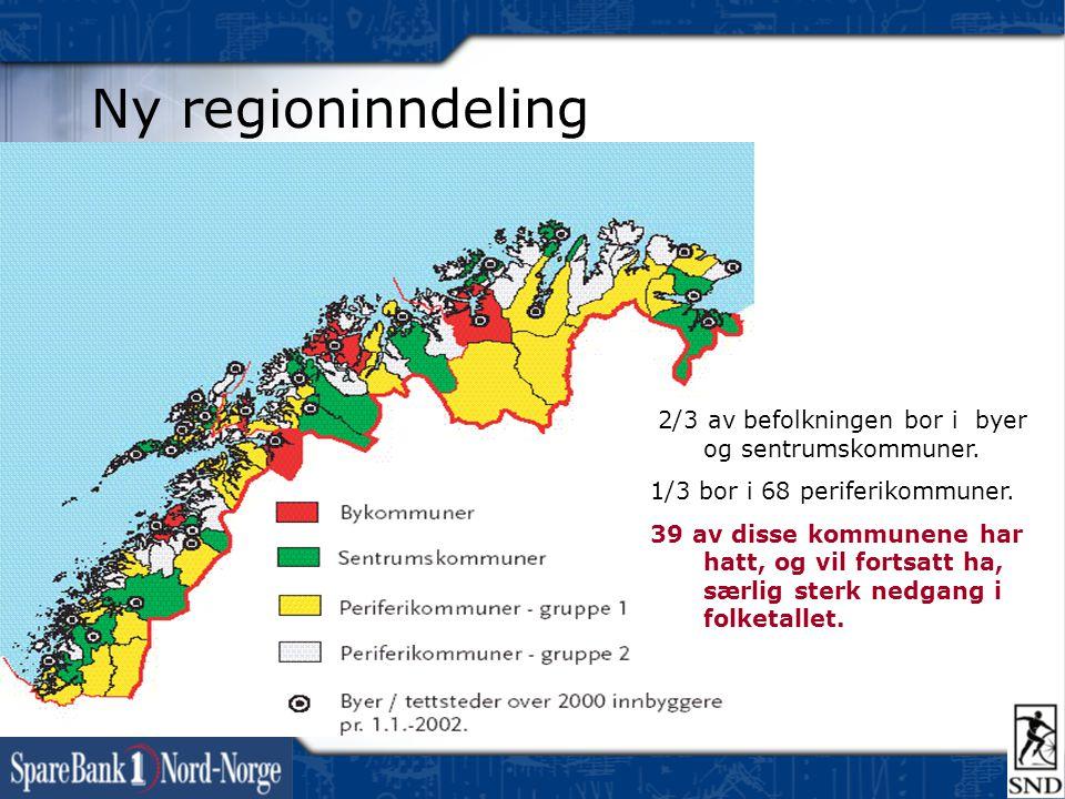 Ny regioninndeling 2/3 av befolkningen bor i byer og sentrumskommuner. 1/3 bor i 68 periferikommuner. 39 av disse kommunene har hatt, og vil fortsatt