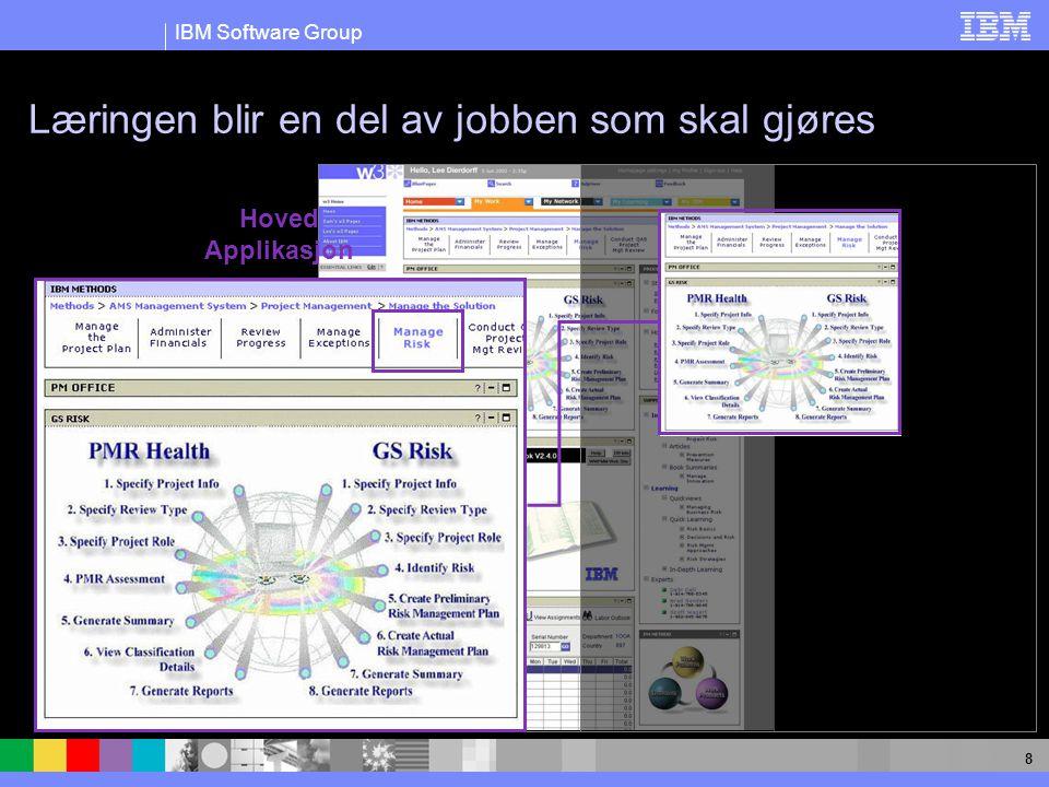 IBM Software Group 8 Læringen blir en del av jobben som skal gjøres Hoved Applikasjon
