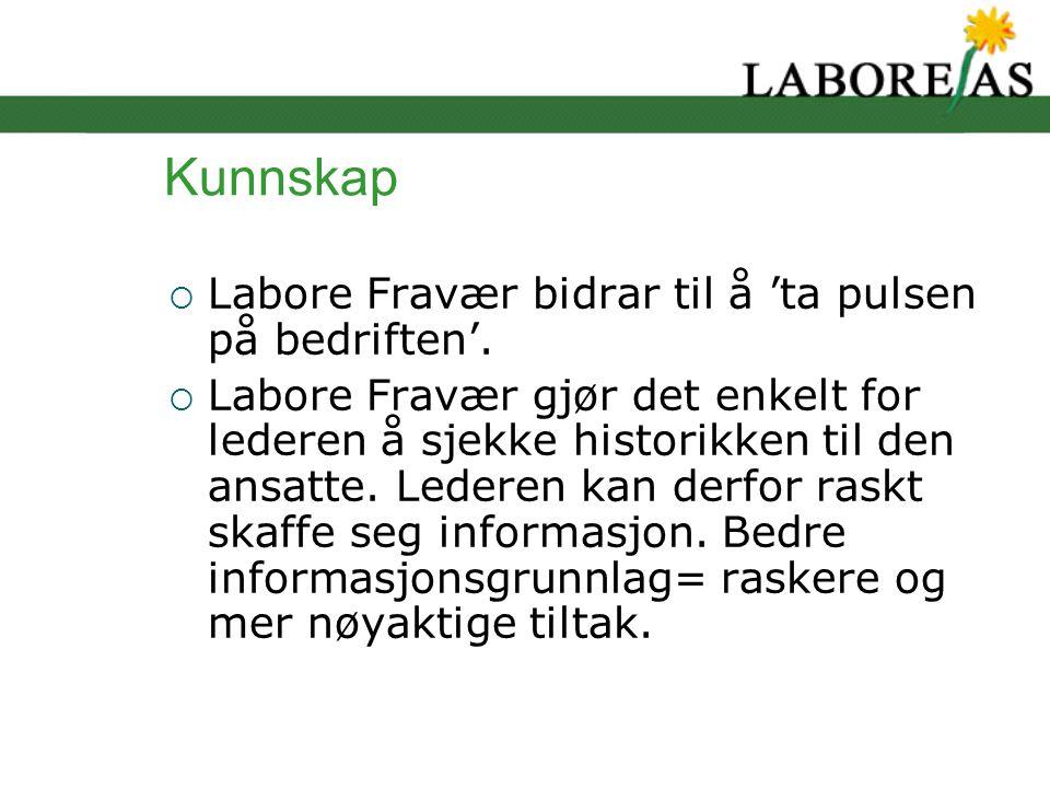 Kunnskap  Labore Fravær bidrar til å 'ta pulsen på bedriften'.