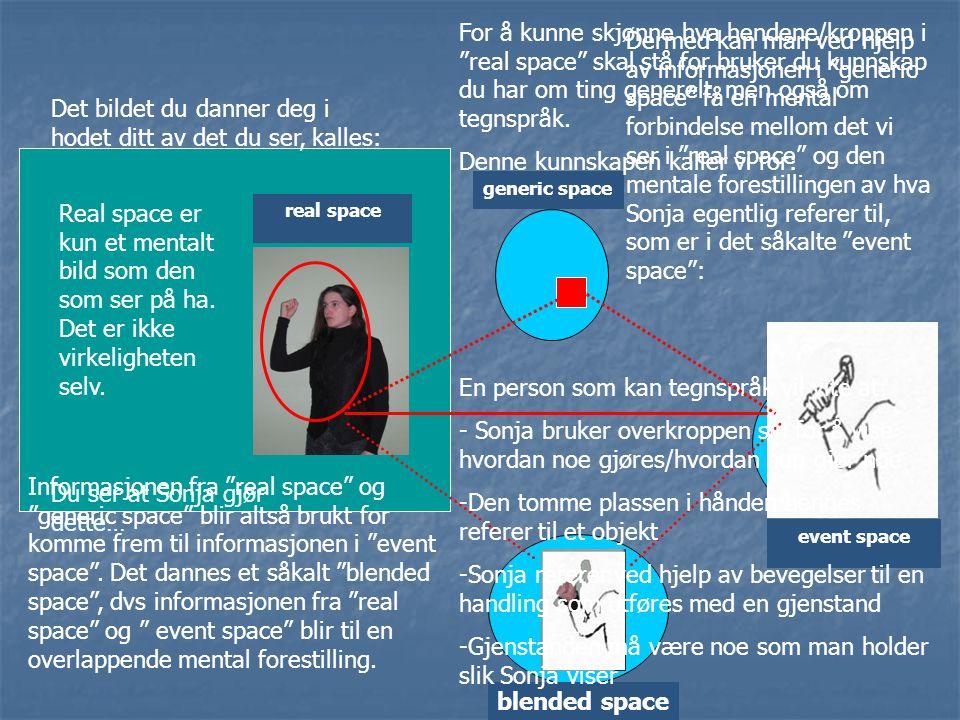 real space event space generic space Du ser at Sonja gjør dette… Det bildet du danner deg i hodet ditt av det du ser, kalles: For å kunne skjønne hva
