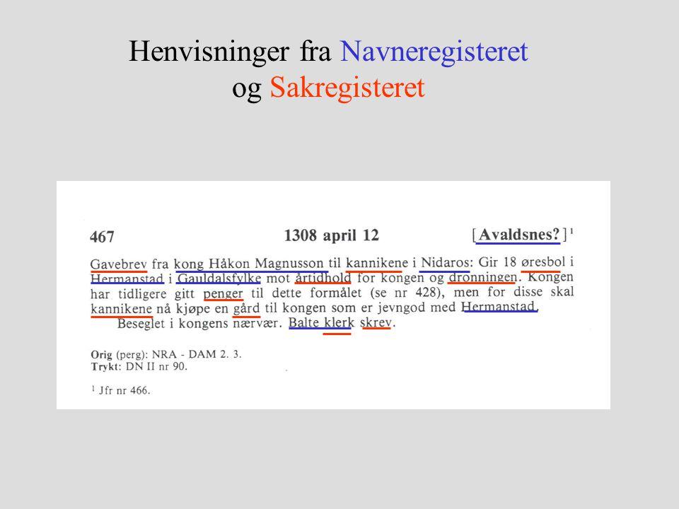 Henvisninger fra Navneregisteret og Sakregisteret