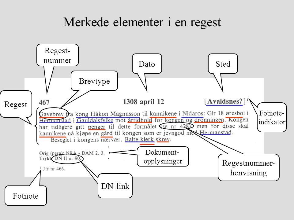 Merkede elementer i en regest Regest- nummer DatoSted Regest Dokument- opplysninger Brevtype Regestnummer- henvisning DN-link Fotnote Fotnote- indikator