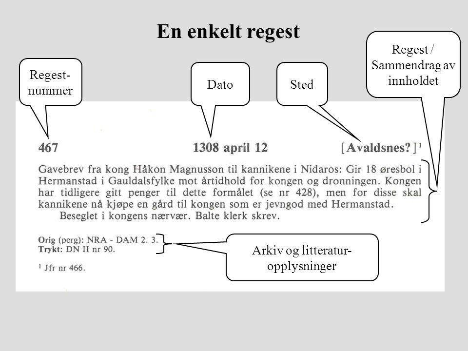 En enkelt regest Regest- nummer DatoSted Arkiv og litteratur- opplysninger Regest / Sammendrag av innholdet