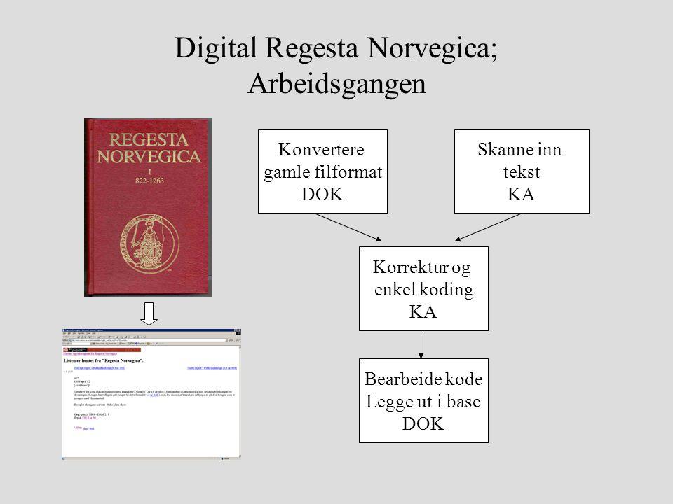 Digital Regesta Norvegica; Arbeidsgangen Konvertere gamle filformat DOK Skanne inn tekst KA Korrektur og enkel koding KA Bearbeide kode Legge ut i base DOK