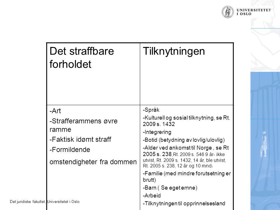 Det juridiske fakultet, Universitetet i Oslo Det straffbare forholdet Tilknytningen -Art -Strafferammens øvre ramme -Faktisk idømt straff -Formildende