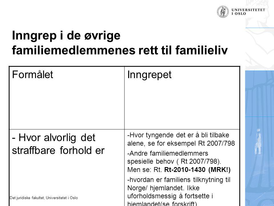 Det juridiske fakultet, Universitetet i Oslo Inngrep i de øvrige familiemedlemmenes rett til familieliv FormåletInngrepet - Hvor alvorlig det straffba