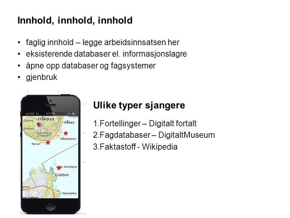 Innhold, innhold, innhold •faglig innhold – legge arbeidsinnsatsen her •eksisterende databaser el.