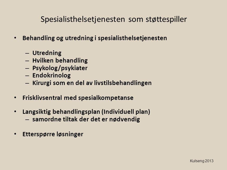 Kulseng 2013 Spesialisthelsetjenesten som støttespiller • Behandling og utredning i spesialisthelsetjenesten – Utredning – Hvilken behandling – Psykol