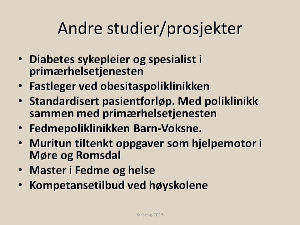 Andre studier/prosjekter • Diabetes sykepleier og spesialist i primærhelsetjenesten • Fastleger ved obesitaspoliklinikken • Standardisert pasientforlø