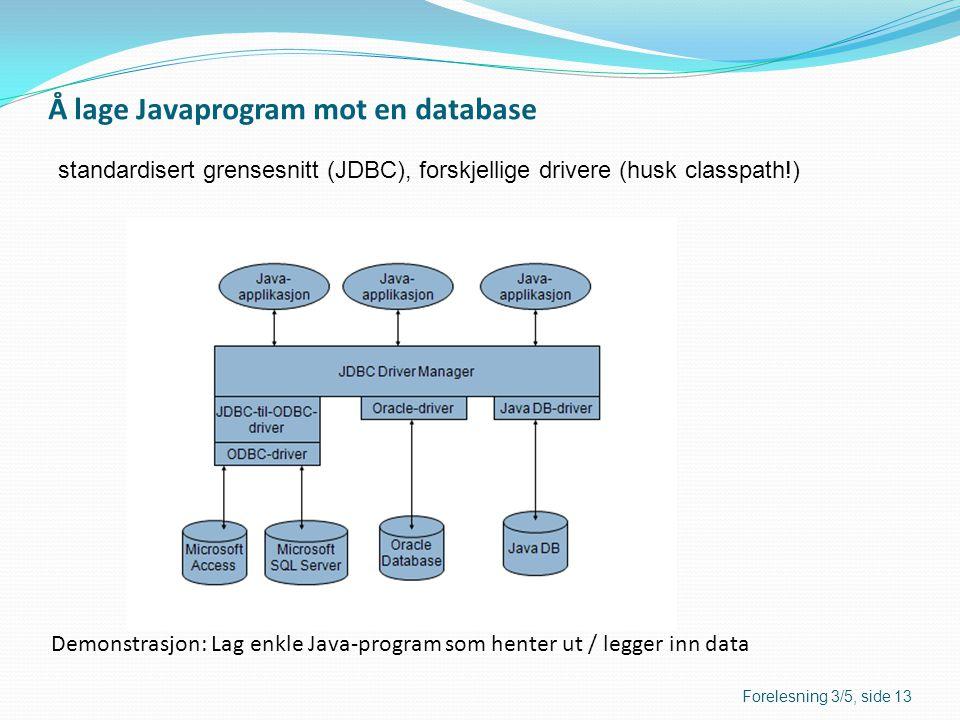 Å lage Javaprogram mot en database standardisert grensesnitt (JDBC), forskjellige drivere (husk classpath!) Forelesning 3/5, side 13 Demonstrasjon: La