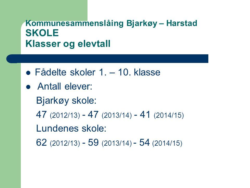 Kommunesammenslåing Bjarkøy – Harstad SKOLE Klasser og elevtall  Fådelte skoler 1.