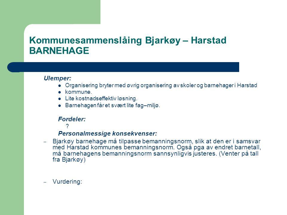 Kommunesammenslåing Bjarkøy – Harstad BARNEHAGE Ulemper:  Organisering bryter med øvrig organisering av skoler og barnehager i Harstad  kommune.