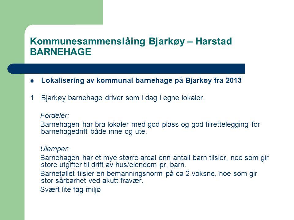 Kommunesammenslåing Bjarkøy – Harstad BARNEHAGE  Lokalisering av kommunal barnehage på Bjarkøy fra 2013 1Bjarkøy barnehage driver som i dag i egne lokaler.