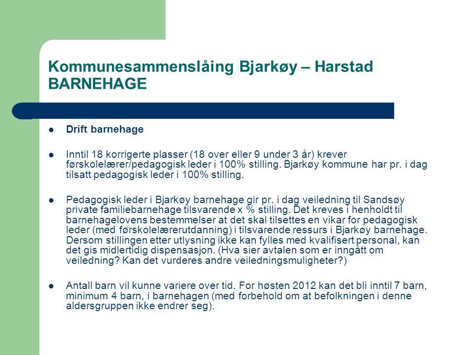 Kommunesammenslåing Bjarkøy – Harstad BARNEHAGE  Drift barnehage  Inntil 18 korrigerte plasser (18 over eller 9 under 3 år) krever førskolelærer/pedagogisk leder i 100% stilling.