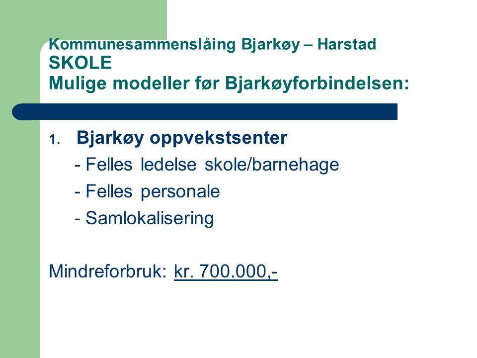Kommunesammenslåing Bjarkøy – Harstad SKOLE Mulige modeller før Bjarkøyforbindelsen: 1.