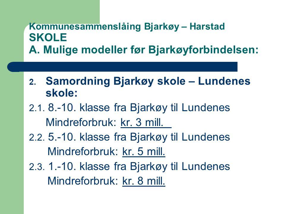 Kommunesammenslåing Bjarkøy – Harstad SKOLE A.Mulige modeller før Bjarkøyforbindelsen: 2.