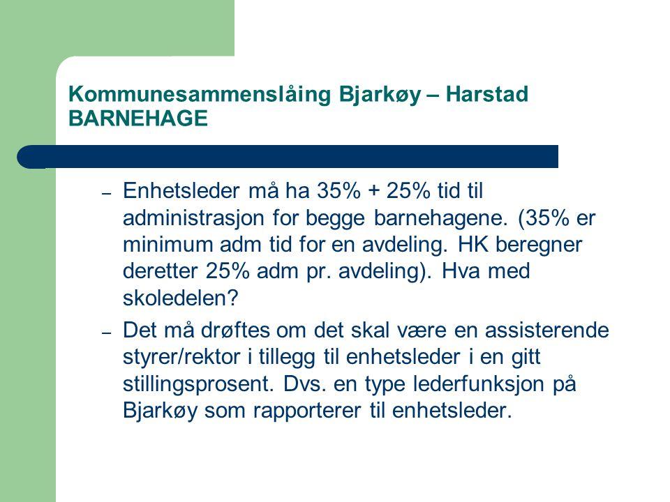 Kommunesammenslåing Bjarkøy – Harstad BARNEHAGE – Enhetsleder må ha 35% + 25% tid til administrasjon for begge barnehagene.