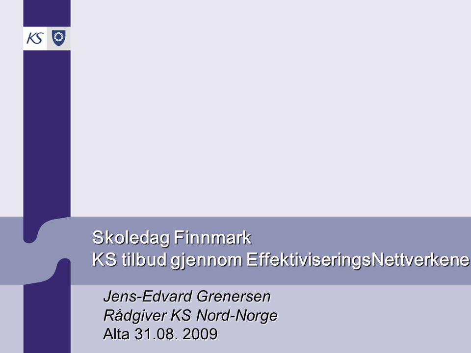 KS Nord-Norge EffNettverk på tjenesteområdene –Skole –SFO –Barnehage –Barnevern –Pleie og omsorg –Demens –Utviklingshemming –Psykisk helse –Sosialtjeneste –Bygge-sak • Skreddersøm innen rammen for EffektiviseringsNettverks- konseptet •Nettverk for å oppfylle krava i §13-10 i Opplæringslova