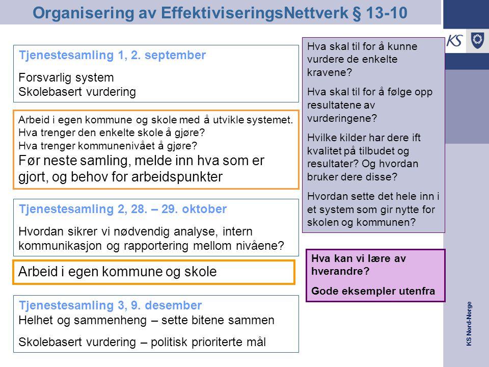 KS Nord-Norge Se EffNettverk i sammenheng med andre tilbud fra KS •EffektiviseringsNettverk, først og fremst: Fornying og effektivisering gjennom økt innsikt i og analyser av egen tjenesteproduksjon, og spørre seg Har kommunane noe å lære, eller å lære bort ? - •I tillegg kommer utviklingsnettverk relatert til tema relevante for EffNetverksarbeid, feks.: –§13-10 –Styringssystem –Brukerdialog •Flere av andre KS-prosjekta/ tilbud går ut på konkret å jobbe med kvalitetsheving på område der en har avdekka behov for dette –Kvalitetskommuneprosjektet –Flink med folk –Livskraftige kommuner –…–…