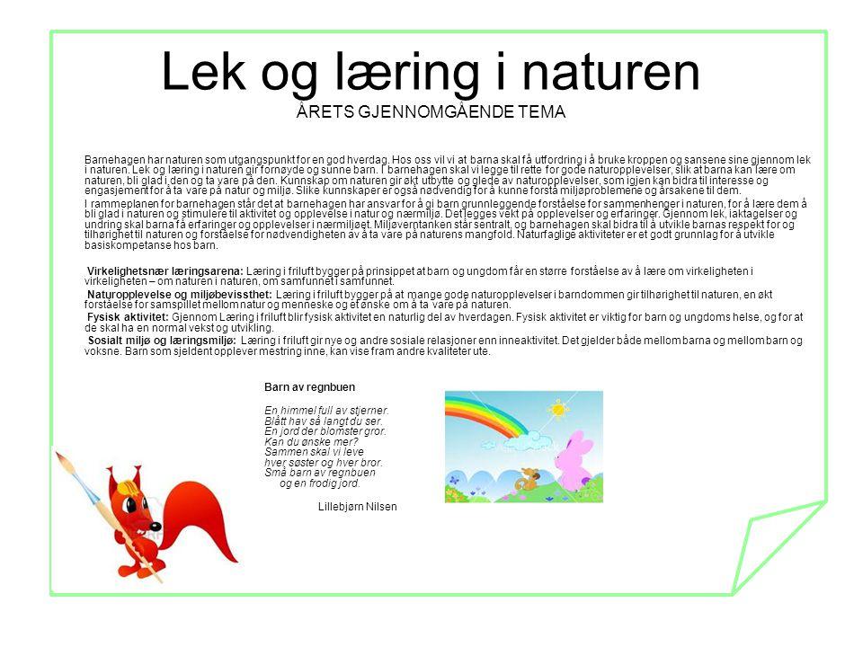 Lek og læring i naturen ÅRETS GJENNOMGÅENDE TEMA Barnehagen har naturen som utgangspunkt for en god hverdag. Hos oss vil vi at barna skal få utfordrin