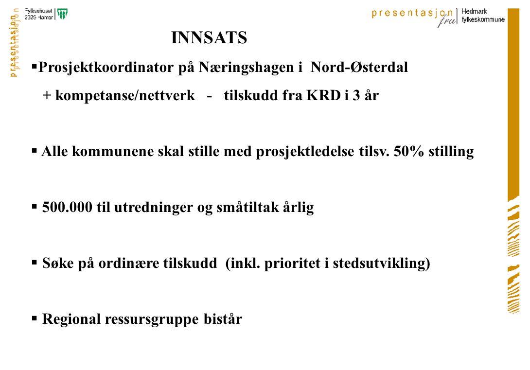 INNSATS  Prosjektkoordinator på Næringshagen i Nord-Østerdal + kompetanse/nettverk - tilskudd fra KRD i 3 år  Alle kommunene skal stille med prosjektledelse tilsv.
