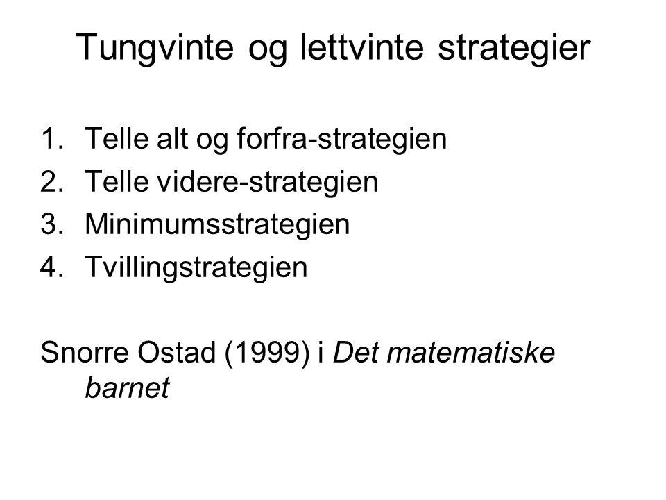 Tungvinte og lettvinte strategier 1.Telle alt og forfra-strategien 2.Telle videre-strategien 3.Minimumsstrategien 4.Tvillingstrategien Snorre Ostad (1