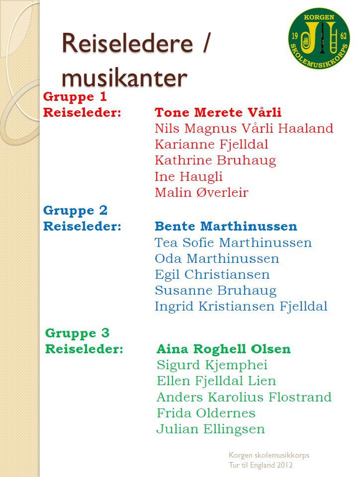 Reiseledere / musikanter Korgen skolemusikkorps Tur til England 2012