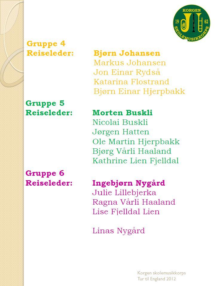 Hjemmesiden www.korgenskolemusikkorps.no Korgen skolemusikkorps Tur til England 2012