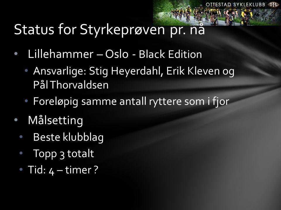 • Lillehammer – Oslo - Black Edition • Ansvarlige: Stig Heyerdahl, Erik Kleven og Pål Thorvaldsen • Foreløpig samme antall ryttere som i fjor • Målsetting • Beste klubblag • Topp 3 totalt • Tid: 4 – timer .